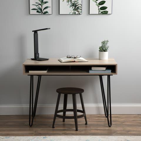 Carbon Loft Ixchael 44-inch Black and Natural Retro Desk