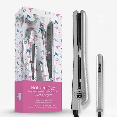 Hair Rage Beauty Duo 1-25 Inch and 0.5-Inch Travel Size Tourmaline Duet Flat Iron Set (Silver)
