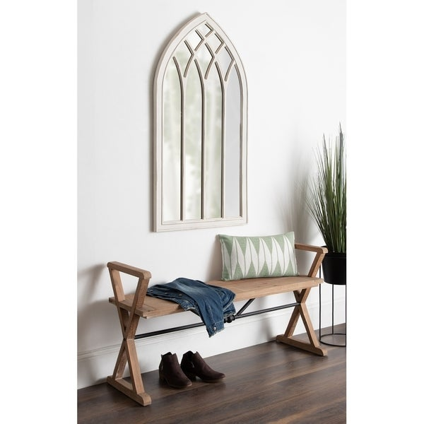 Kate and Laurel Winn Coastal Framed Arch Accent Mirror - White - 25x48