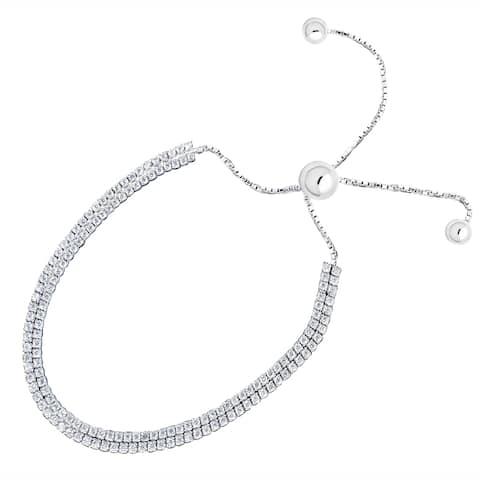 Sterling Silver 2 Row Adjustable Bracelet