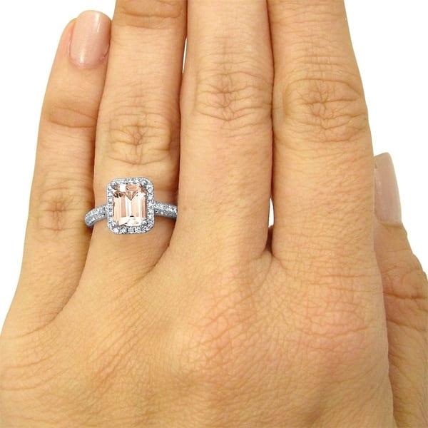 18 K White Gold Finish 2.10 Ct Emerald Cut Diamond Engagement Ring Size 5