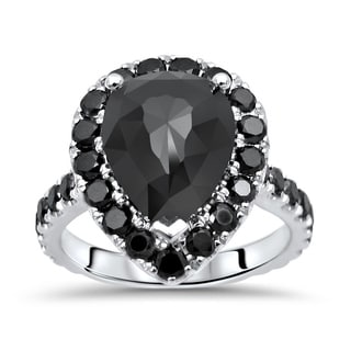 Noori 4 9 10 Ct Black Diamond Pear Shape Engagement Ring 14k White Gold