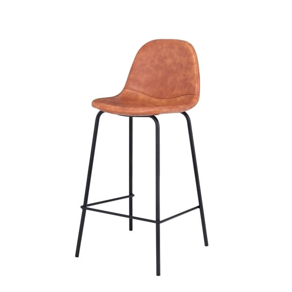 Carbon Loft Spooner Handmade Distressed Cognac Leather Counter Stool. Opens flyout.