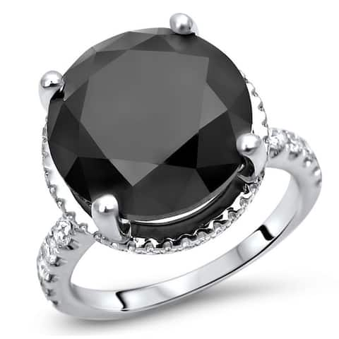 Noori 6 & 1/10 ct Black Diamond Carrie Style Engagement Ring 18k White Gold