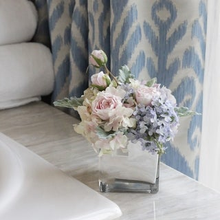 Faux Rose and Hydrangea Flowers Arrangement in Mirrored Glass Vase