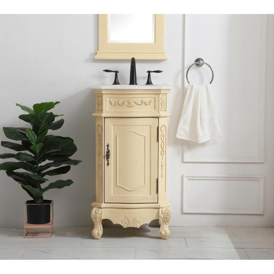 19 Inch Single Bathroom Vanity In Light Antique Beige Overstock 28944567