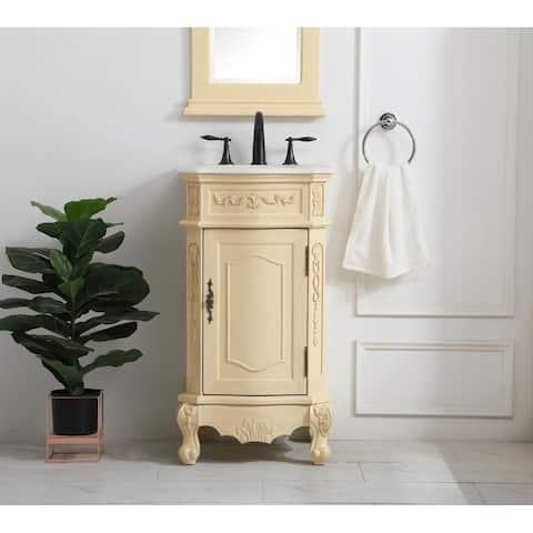 19 inch Single Bathroom Vanity in Light Antique Beige