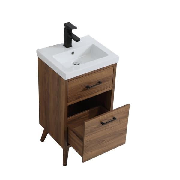 18 Inch Bathroom Vanity In Walnut Brown
