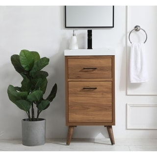 18 inch bathroom vanity in walnut brown