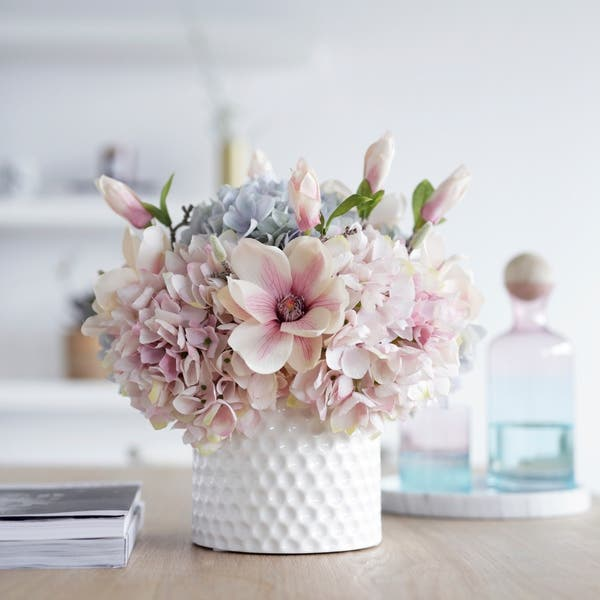Faux Hydrangea And Magnolia Flower Arrangement In White Ceramic Vase Overstock 28944616