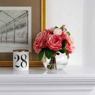 Faux Rose Arrangement in Glass Vase with Water Illusion