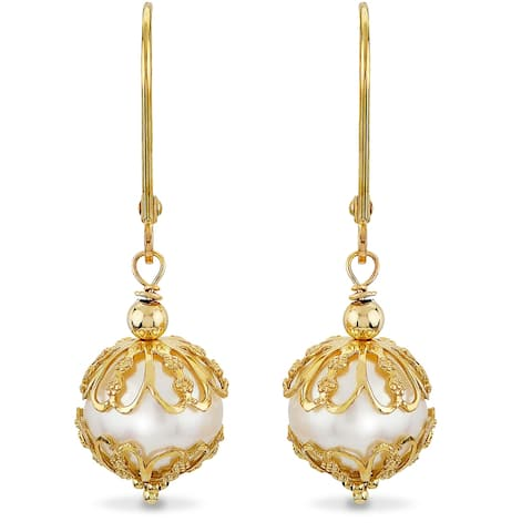 PearLustre by Imperial 14K Capped Freshwater Pearl Dangle Earrings