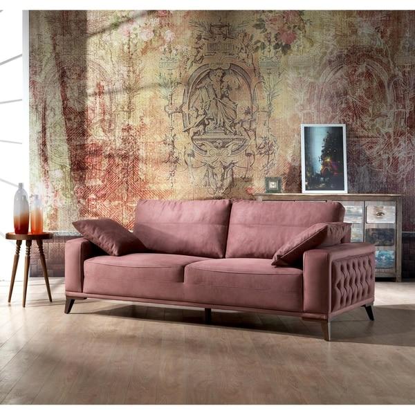 Luna Flamenco Tufted Arm Modern 2 Seater Loveseat Sofa - N/A