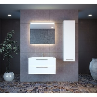 "Elke 48"" Single Sink Modern Wall Mount Bathroom Vanity Set with Mirror"