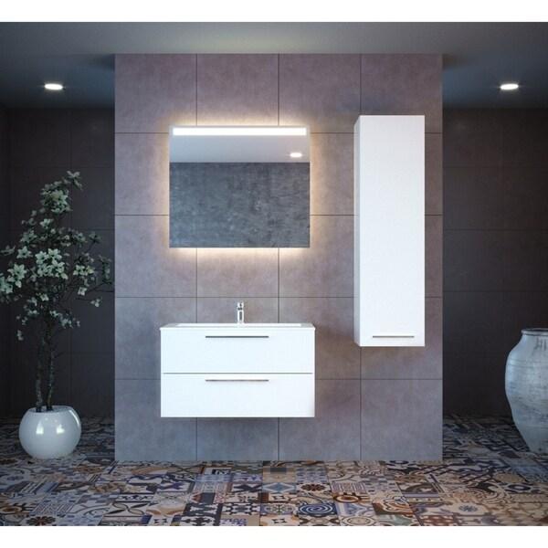 """Elke 48"""" Single Sink Modern Wall Mount Bathroom Vanity Set with Mirror"""