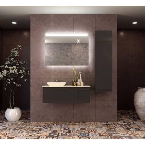 Helmos 48 inch Modern Wall Mount Bathroom Vanity Set with Vessel Sink