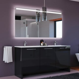Benna 63 inch Glossy Grey Double Sink Freestanding Bathroom Vanity Set