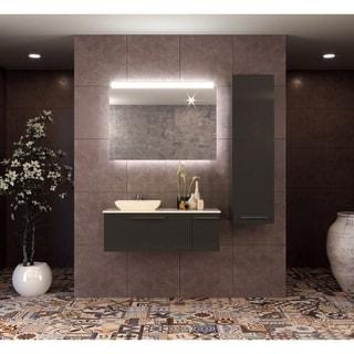 Helmos 40 inch Modern Wall Mount Bathroom Vanity Set with Vessel Sink