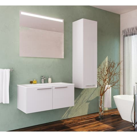 Aspe 40 inch Glossy White Modern Wall Mount Bathroom Vanity and Sink Combo