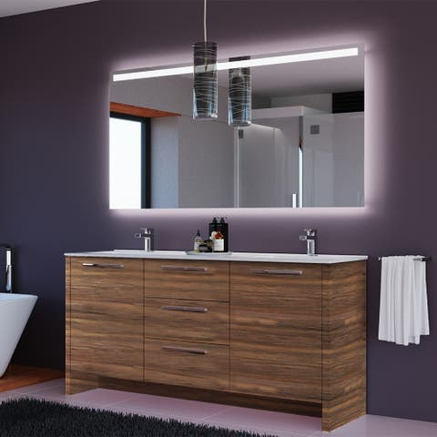 Nona 71 inch Matte Walnut Double Sink Freestanding Bathroom Vanity Set