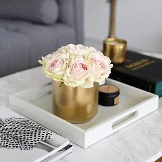 Faux Vintage Rose Arrangement in Gold Ceramic Vase