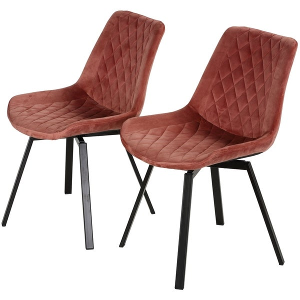 Cortesi Home Milani Swivel Dining Chairs in Blush Pink Velvet, Set of 2 (As Is Item)