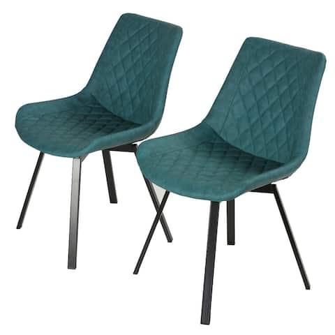 Cortesi Home Azov Swivel Dining Chairs in Deep Aqua Faux Leather, Set of 2