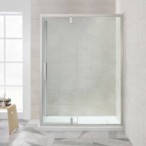 OVE Decors Estero 60x32 in. SN Framed Pivot Shower Door w/ Side Panel