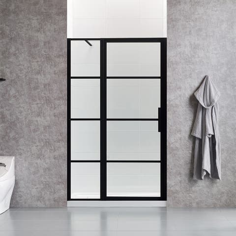 OVE Decors Milano 48 in. Black Framed Hinges Shower Door