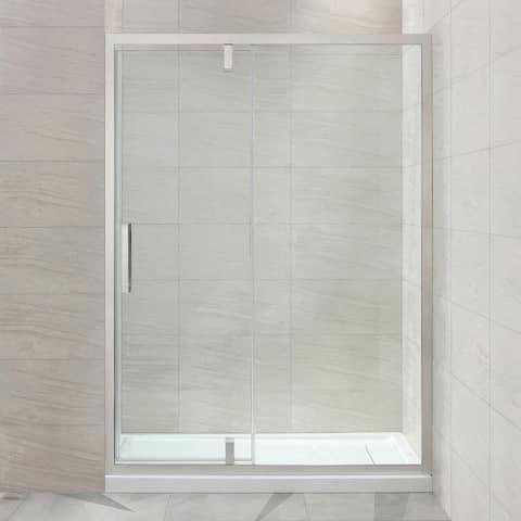 OVE Decors Estero 60 in. Satin Nickel Framed Pivot Shower Door
