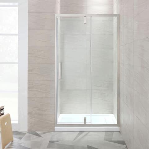 OVE Decors Estero 48 in. Satin Nickel Framed Pivot Shower Door
