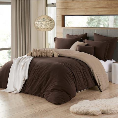 Porch & Den Crane Extra Soft Reversible Crinkle Duvet Cover Set