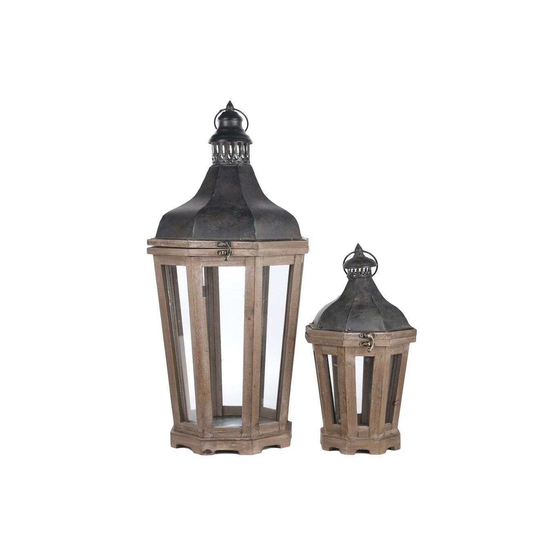 Utc94646 Wood Octagon Lantern Set Of Two Natural Finish Dark Brown Overstock 28945051