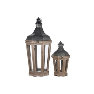 UTC94646: Wood Octagon Lantern Set of Two Natural Finish Dark Brown - N/A