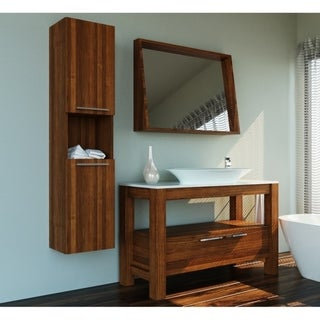 "Pollino 48"" Veneer Dark Freestanding Vessel Sink Vanity with Mirror"