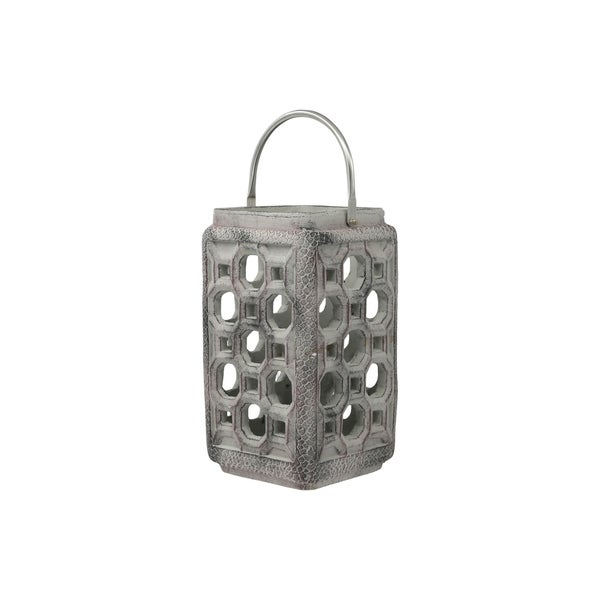 UTC35770: Cement Square Lantern with Screwed Metal Top Handle and Multiple Holes Design Body SM Washed Finish Gray - N/A