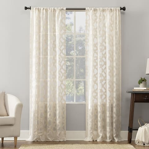 No. 918 Yvette Trellis Jacquard Sheer Rod Pocket Curtain Panel