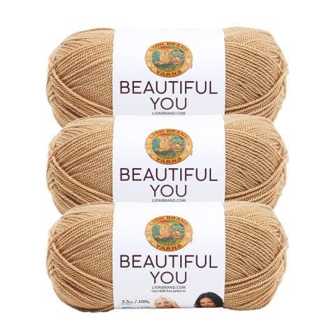 Lion Brand Yarn Beautiful You Porcini 165-124 3 Pack Fashion Yarn