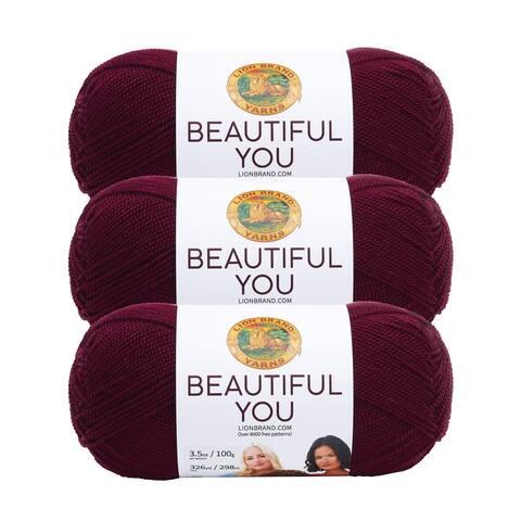 Lion Brand Yarn Beautiful You Zinfandel 165-189 3 Pack Fashion Yarn