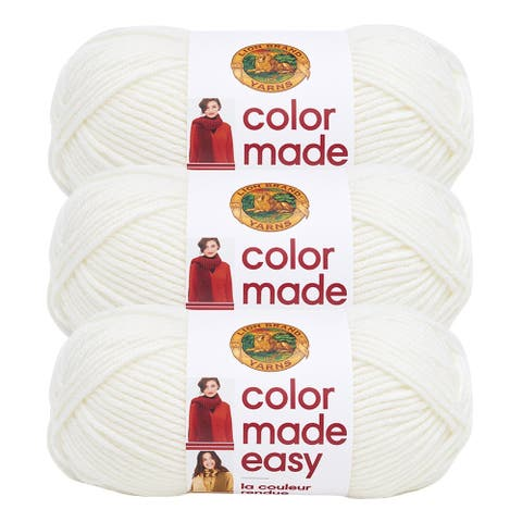Lion Brand Yarn Color Made Easy Birch 195-100 3 Pack Basic Yarn