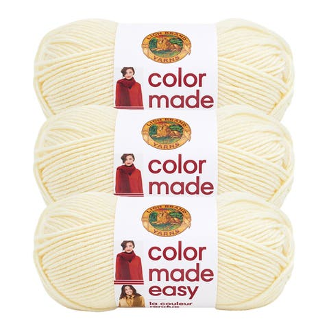 Lion Brand Yarn Color Made Easy Alabaster 195-098 3 Pack Basic Yarn