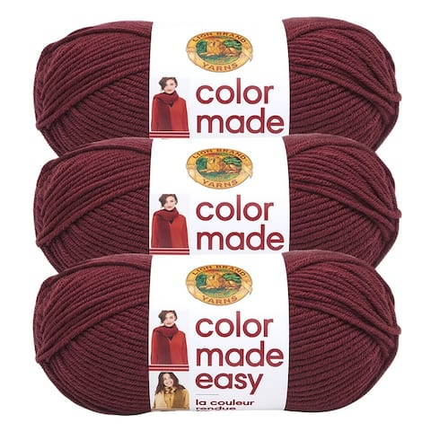 Lion Brand Yarn Color Made Easy Pomegranate 195-138 3 Pack Basic Yarn