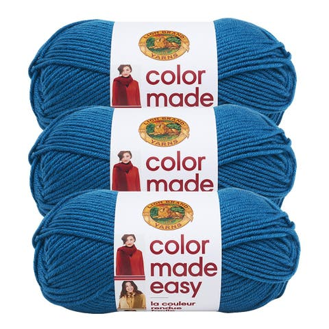 Lion Brand Yarn Color Made Easy Kingfisher 195-148 3 Pack Basic Yarn