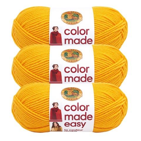 Lion Brand Yarn Color Made Easy Turmeric 195-158 3 Pack Basic Yarn