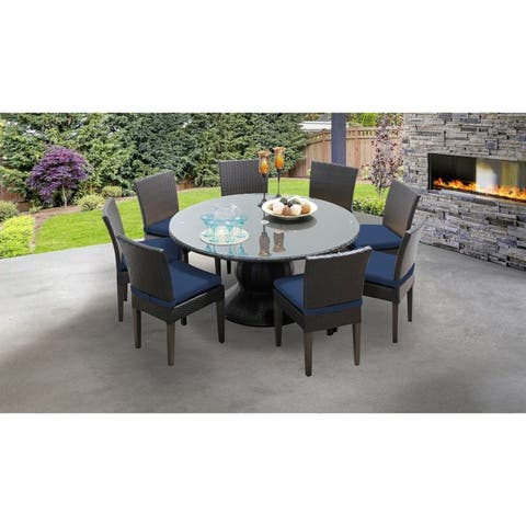 Barbados 60 Inch Outdoor Patio Dining Table with 8 Armless Chairs