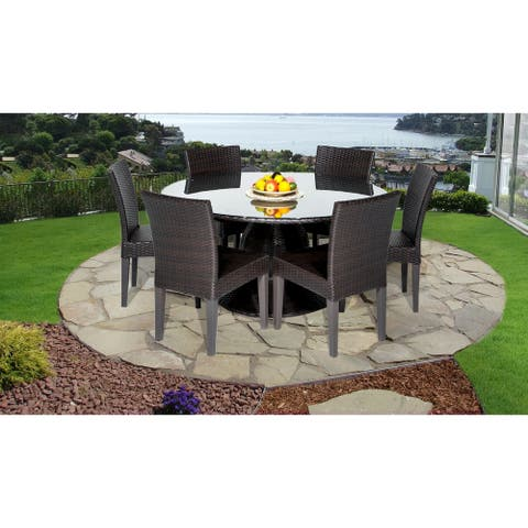 Belle 60 Inch Outdoor Patio Dining Table with 6 Armless Chairs