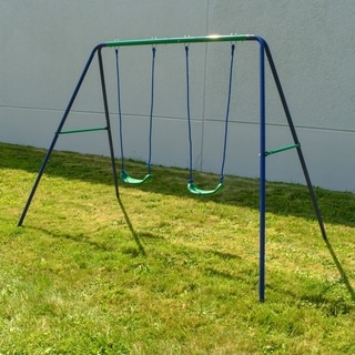 Link to ALEKO Outdoor Sturdy Child Swing Seat with 2 Swings - Blue and Green Similar Items in Outdoor Play