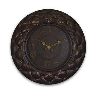 Dark Brown Round Wall Clock Elegant Tufted Texture Battery Operated