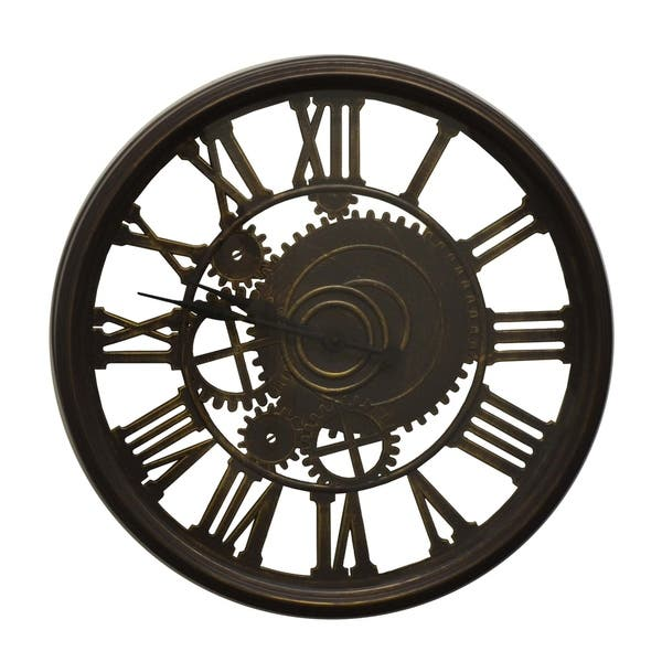 Steampunk Style Brown Wall Clock Roman Numerals Sculptural Home Decor Art