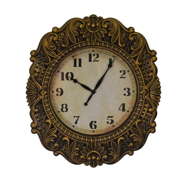 Antique Gold Distressed Baroque Wall Clock Elegantly Ornate Flourishes